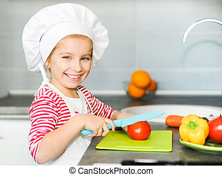 Little girl preparing healthy food