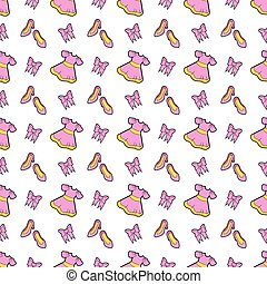 Little Girl Princess Seamless Background with Pink Dress, Shoes and Bows. Vector Pattern