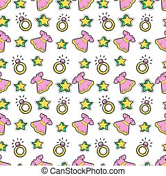 Little Girl Princess Seamless Background with Pink Dress, Stars and Rings. Vector Pattern