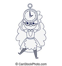 little girl princess with clock cartoon character line style