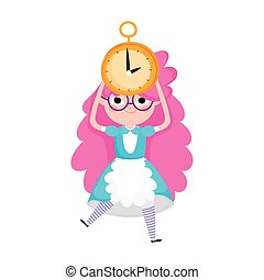 little girl princess with clock cartoon character