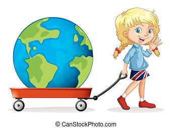 Little girl pulling wagon with a globe on it