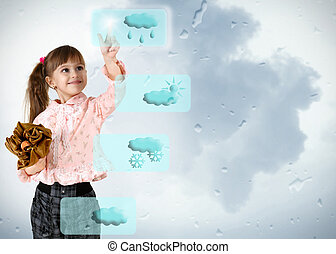 little girl pushing on weather button
