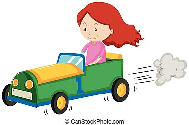Little girl racing a car