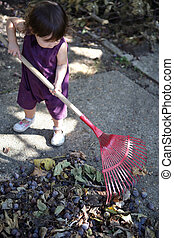 Little girl raking leaves