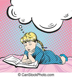 Little girl reading book on a bed. Vector illustration in comic pop art style. Dreaming about something
