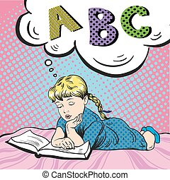 Little girl reading book on a bed. Vector illustration in comic pop art style. Studying alphabet