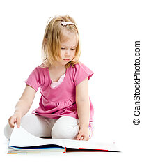 Little girl reading book on floor isolated on white