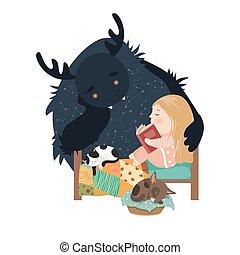 Little girl reading fairy tales to the monster - Little girl...