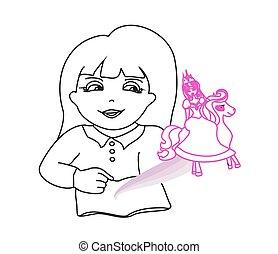 Little girl reading magic book