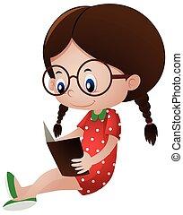 Little girl reading storybook