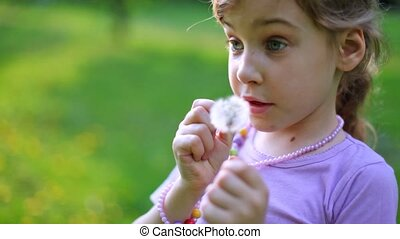 Little girl reads rhyme playing with dandelions on green grass
