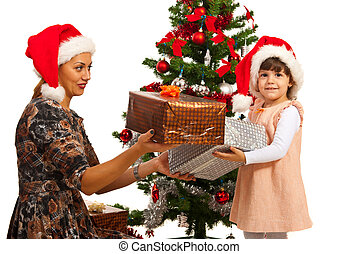 Little  girl receive Christmas gifts