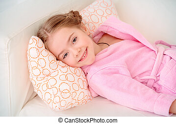 little girl resting at home