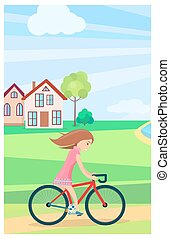 Little Girl Riding Bike Outdoors in Summer Time