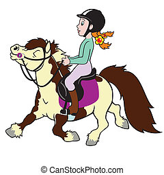 little girl riding pony horse, cartoon picture isolated on ...