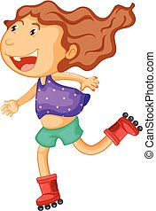 Little girl rollerskates on white background illustration