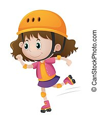 Little girl rollerskating with helmet on illustration