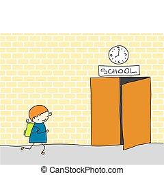 late for school - little girl running, as she's late for...