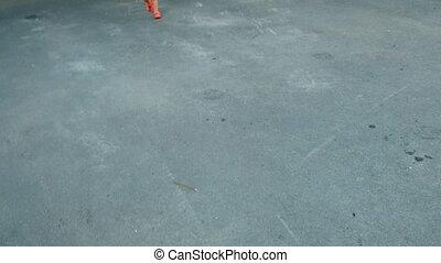 Little girl running on asphalt pavement - Kid saw the parent...