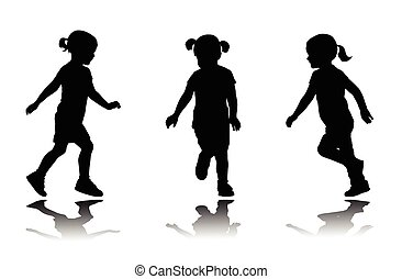 little girl running silhouettes