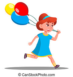 Little Girl Running With Colored Balloon Vector. Isolated Illustration