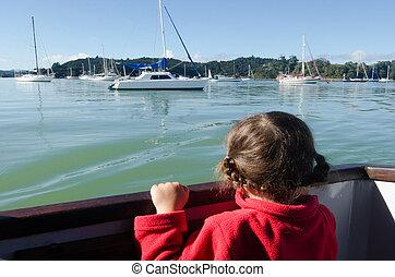 Little girl sailing