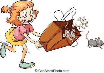Little girl scared of rats in the bag