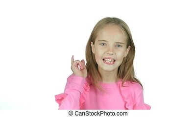 Little girl screams for her bad mood, she's angry. White...