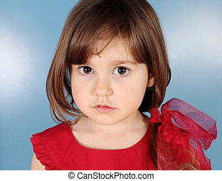Little Girl Seriously Looking
