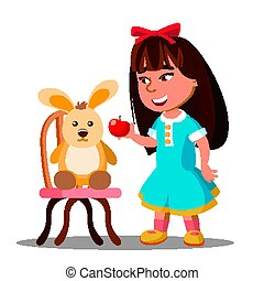 Little Girl Shares One Apple With Her Soft Toy Hare Vector. Isolated Illustration