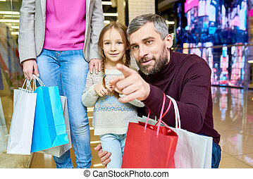 Little Girl Shopping with Dad