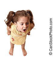 Little girl shouting, or tantrum - A young little girl with...