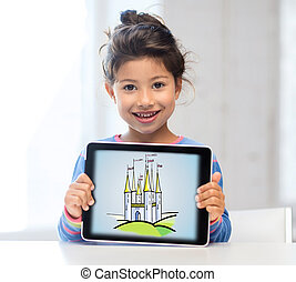 little girl showing castle on tablet pc screen - technology...