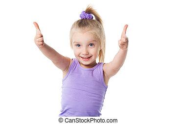 little girl showing okay sign
