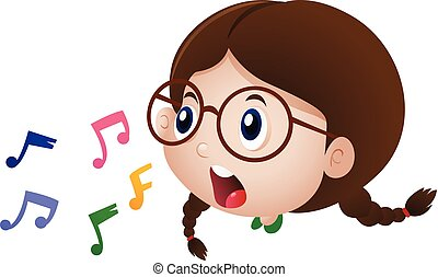 Little girl singing with music notes