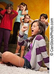 Little Girl Sings Out Loud - Little girl listens to music on...