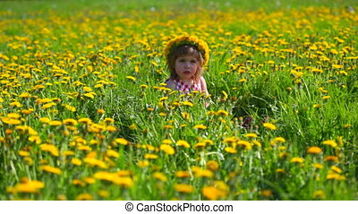 little girl sits on a meadow