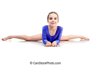 little girl sits on a splits