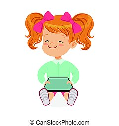 Little girl sitting and playing with digital tablet. Child and modern technology colorful cartoon character vector Illustration