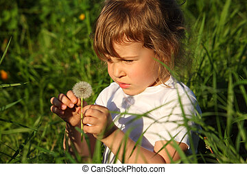 little girl sitting in grass with dandelion in hand