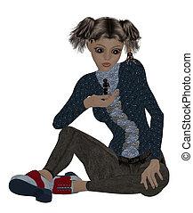 Little Girl Sitting - Little girl sitting down holding one...