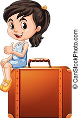 Little girl sitting on a suitcase