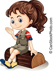 Little girl sitting on log illustration