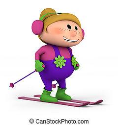 little girl skiing - cute little cartoon girl skiing - high...