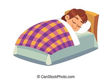 Little girl sleeping in bed. Happy child sleeps under duvet in bedroom, peacefully sleep on mattress, bedtime kids schedule concept, children daily routine vector cartoon illustration
