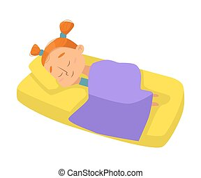 Little Girl Sleeping Sweetly in her Bed under Blanket, Bedtime, Sweet Dreams of Adorable Kid Concept Cartoon Style Vector Illustration