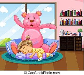 Little girl sleeping with pink teddybear illustration