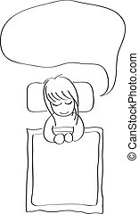 Little girl sleeping with word bubble hand drawing cartoon...