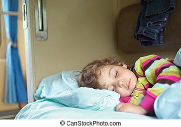 little girl sleeps in train